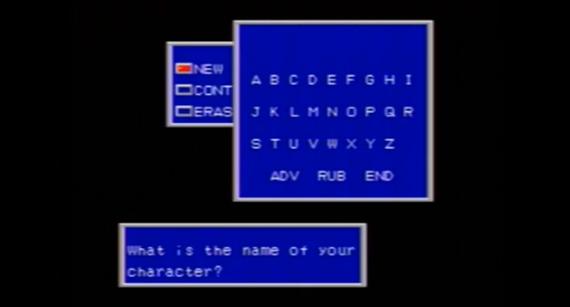 Naming menu of Phantasy star 2